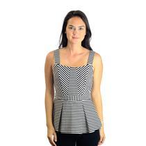 Sz S C Wonder Black & White Striped Wide Strap Ponte Knit Peplum Top w/Pleats