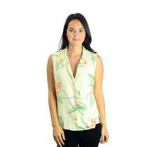 S Tommy Bahama Tan Button Front Collared Sleeveless Floral Silk Hawaiian Shirt