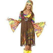 60's Groovy Lady Hippie Adult Costume Fringe Dress Size Medium