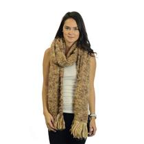 "NWT Ayers Hand Woven Homespun Sierra Brown Cream Shawl Fringe Scarf 15"" x 86"""