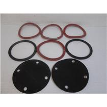 "**Lot of 8**  Rubber Gaskets (6) 6"" x 1/4"" & (2) 4-Hole 7"" x 1/8"" Rubber Disc"