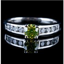 Stunning Platinum Yellow Diamond & Diamond Solitaire Engagement Ring .92ctw
