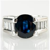 Stunning 14k White Gold Oval Cut Sapphire & Diamond Cocktail Ring 3.1ctw