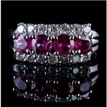 Vintage 1960's 14k White Gold Round Cut Ruby & Diamond Cocktail Ring 1.42ctw