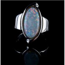 14k White Gold Oval Cabochon Cut Australian Opal Solitaire Ring 1.77ct