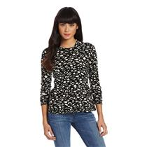 L NWT DV Dolce Vita Marie Peplum Knit Sweater Top in Black/Ivory Ocelot Print