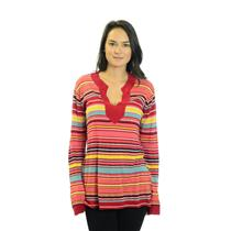 Size 1 Michael Stars Multi Colored Striped V-neck Tunic Light Knit Sweater SH347