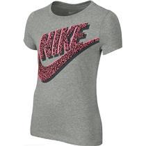 Nike Girls Heritage T-shirt Gray W/Neon Pink XS