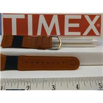 Timex Watch Band 19mm Brn/Teal Leather/Nylon Indiglo Expedition Strap.Watchband