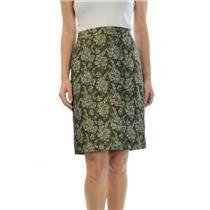2 J. Crew Collection Metallic Olive Green And Gold Floral Print Textured Skirt