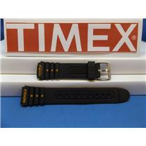 Timex Watch Band 19mm Indiglo Ironman Triathlon Black Strap. Orange Graphics