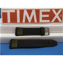 Timex Watch Band 19mm Black:Yellow Stripes Mans Resin Sport Strap. Watchband
