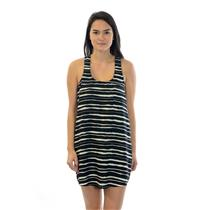 S Collective Concepts Black/White Striped Racer Back Sleeveless Tunic Dress/Top