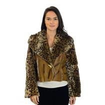EU 44 Engine Vera Pelle Brown Leather Jacket w/Cheetah Print Sheared Mink Lining