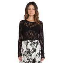 S NEW Show Me Your Mumu Cher Long Sleeve Crop Top in Blooming Stretch Lace Black