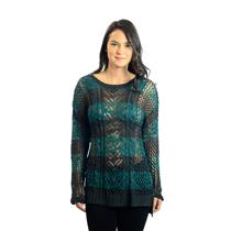 NWT S Romeo & Juliet Couture Teal And Green Open Cable Knit Long Sleeve Sweater