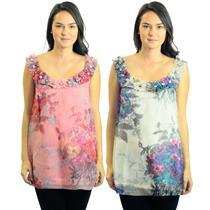 NWT Yoana Baraschi Multi-Color Floral Sleeveless Bliss Garden Organza Tunic Top