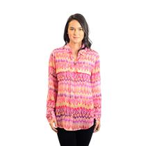 NWT Go Silk Pink Multi-Color Printed Sheer 100% Silk Long Sleeve Collared Blouse