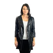 Sz 4 TOPSHOP Quilted Longline Biker Jacket Coat Black Leather Motorcycle Trench