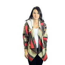 S/M Yag Couture Brown/Cream/Red Fair Isle Open Cardigan Sweater w/Shearling Hood