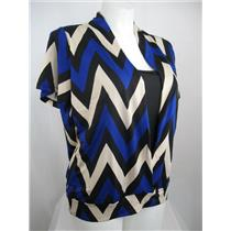 Claudia Richard Chevron Stripe Short Sleeve Polyester Layered Look Top