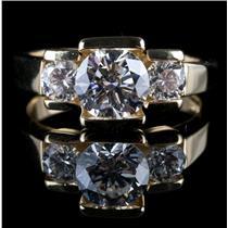 18k Yellow Gold John Atencio Round Cut Diamond Engagement Ring 1.80ctw