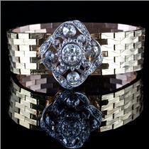 Vintage 1880 18k / 14k Yellow & White Gold Old Mine Cut Diamond Bracelet 2.42ctw