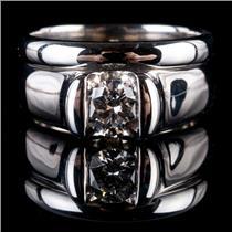 18k White Gold Round Cut Diamond Solitaire Engagement Ring / Wedding Set .49ct