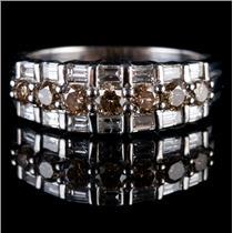 14k White Gold Round Cut Champagne Diamond & Baguette Cut Diamond Ring 1.03ctw