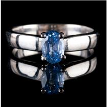 14k White Gold Oval Cut Sapphire Solitaire Engagement Ring W/ Diamonds .94ctw