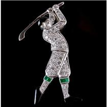 "14k White Gold Diamond & Emerald ""Golfer"" Pendant / Pin Combination .52ctw"