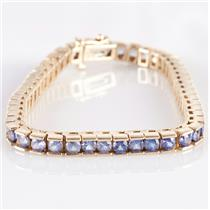 14k Yellow Gold Round Cut Tanzanite Tennis Bracelet 9.31ctw