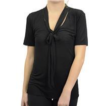 L NEW Morphine Generation Black Tie Neck Burnout Short Sleeve Top Linen Blend