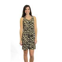 6 En Focus Studio Brown/Ivory Zebra Print Stretch Jersey Swing Mini Dress Rings
