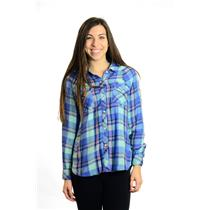 S Rails Red Green Blue Plaid Long Sleeve Button Up Shirt SUPER SOFT Tencel/Rayon