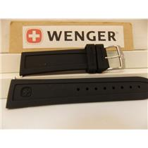 Wenger Watch Band 22mm Silicone Rubber Divers Sports Strap Black w/Logo Buckle