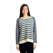 "NEW! L MOTHER ""Slit Hem Square"" Ivory & Blue Crew Neck Sweater Top 8162-306"