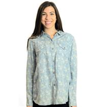 S Rails Carter Light Blue Chambray White Floral Print Long Sleeve Button Shirt
