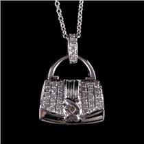 "18k White Gold Round Cut ""F"" Diamond Purse Pendant W/ 18"" Chain .37ctw"
