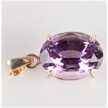 "14k Yellow Gold Oval Cut ""A"" Amethyst Solitaire Pendant 9.20ct"