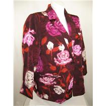Susan Graver Printed Peachskin Polyester Single Breasted Blazer in Pink Flower