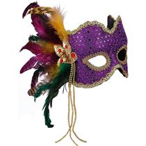 Forum Women's Karneval Mardi Gras Style Purple Sequin Half Mask with Feathers
