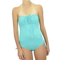 M NWT Juicy Couture Sky Bandeau One-Piece Maillot Shirred Halter Swimsuit Y78821