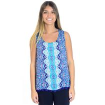 L Gypsy 05 Lace up Back Tank Top w/Crochet Scalloped Trim in Kosmo Blue Multi