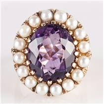 Vintage 1940's 14k Yellow Gold Oval Cut Amethyst & Pearl Cocktail Ring 13.5ct