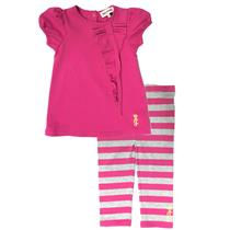 18-24m NWT Juicy Couture Baby 2pc Legging Pink Tunic/Heather Grey Striped Pants