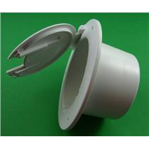 JR Products 541-2-A Polar White Deluxe Round RV Electric Cable Hatch with Back