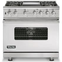 """Viking Professional Series 36"""" Pro-Style Dual-Fuel Range Stainless VDSC5364GSS"""