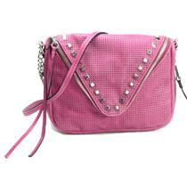 NWT She + Lo Breakthrough Studded Crossbody Bag/Leather Perforated Berry Purse