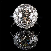 Vintage 1890's Platinum Old European Cut Diamond Halo Engagement Ring 4.63ctw